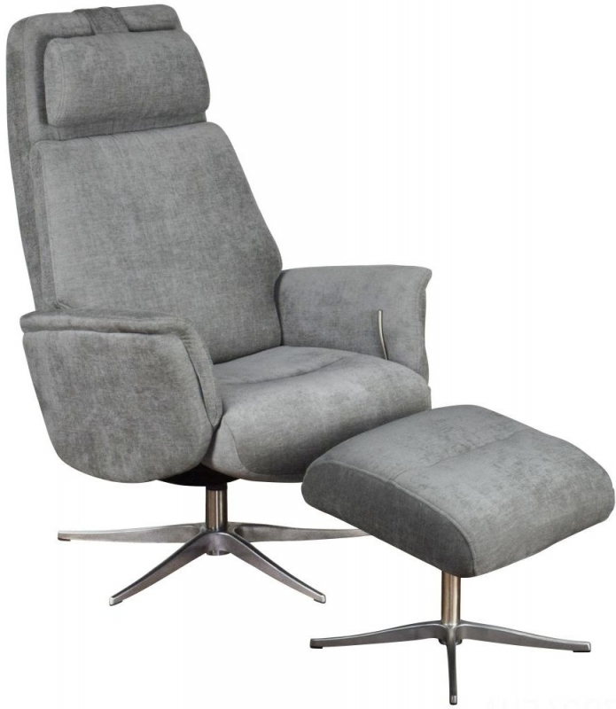GFA Albury Swivel Recliner Chair with Footstool - Stone Fabric