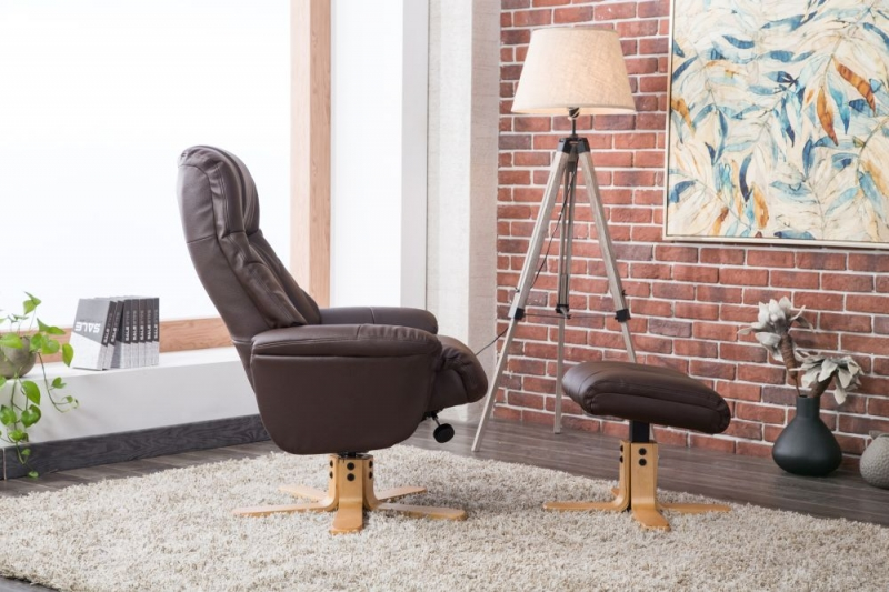 GFA Dubai Swivel Recliner Chair with Footstool - Brown Plush Fabric