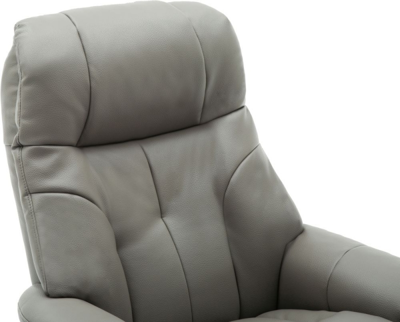 GFA Dubai Swivel Recliner Chair with Footstool - Grey Plush Fabric