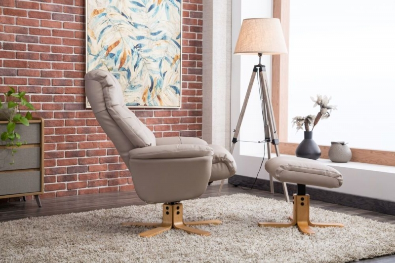 GFA Dubai Swivel Recliner Chair with Footstool - Pebble Plush Fabric