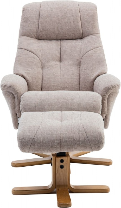 GFA Dubai Swivel Recliner Chair with Footstool - Lisbon Wheat Fabric