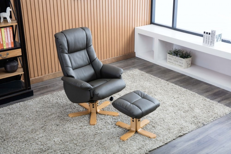 GFA Florence Swivel Recliner Chair with Footstool - Charcoal Plush Fabric
