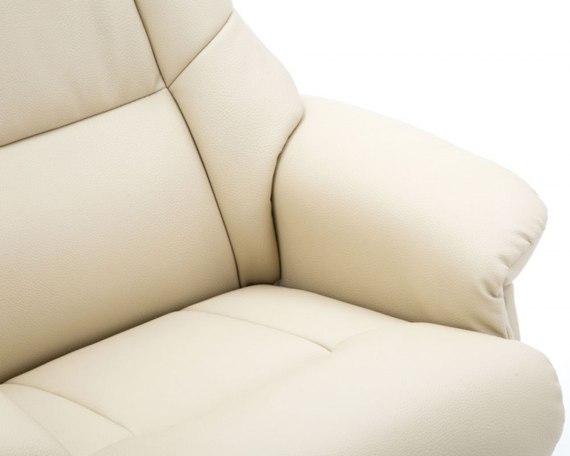 GFA Florence Swivel Recliner Chair with Footstool - Bone Plush Fabric