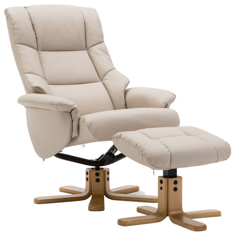 GFA Florence Swivel Recliner Chair with Footstool - Cream Plush Fabric