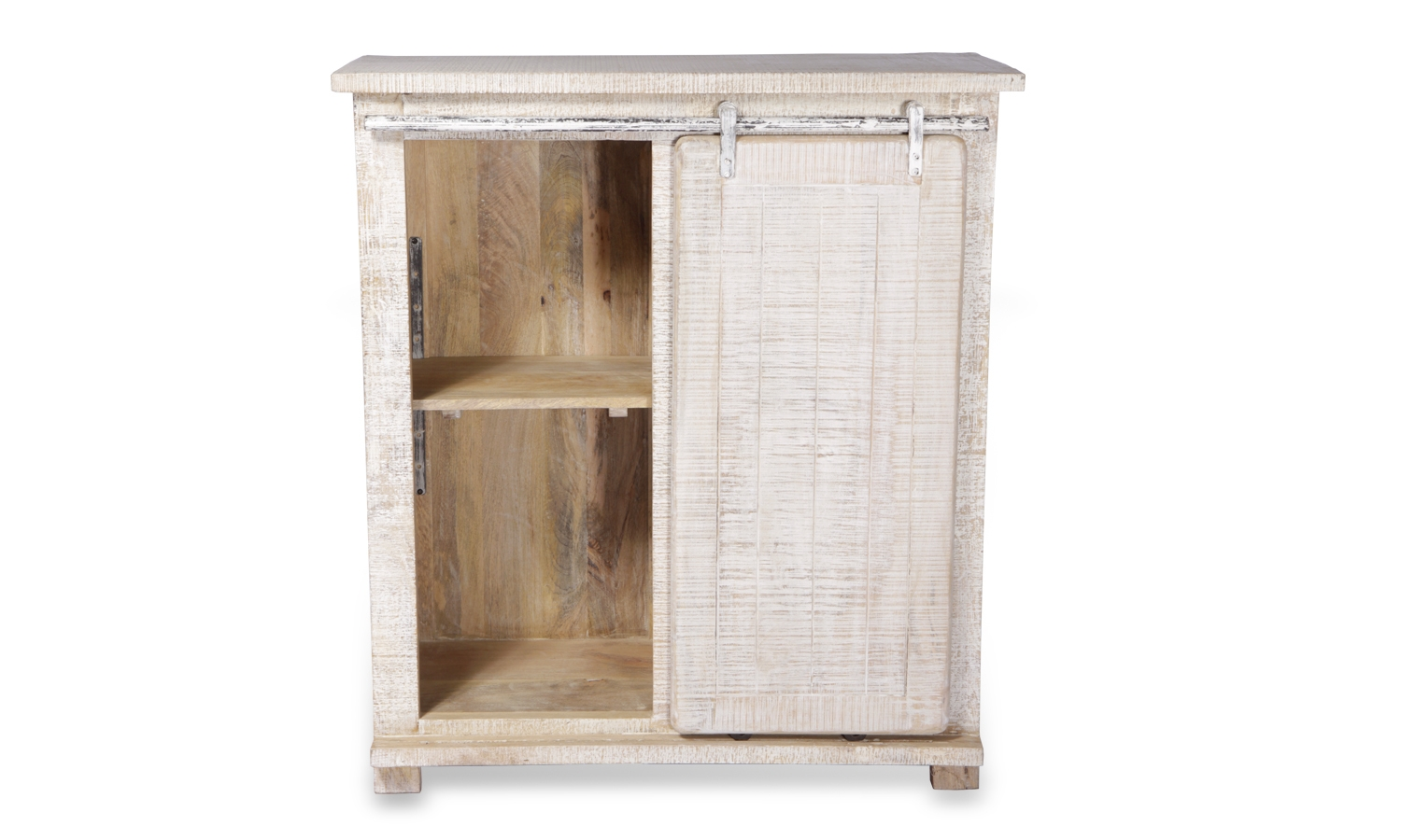 Urban Deco Shabby Chic White Washed 1 Door 4 Drawer Distressed Tall Sideboard