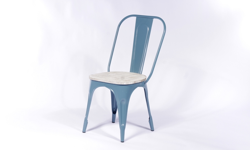2 X Urban Deco Industrial Blue Iron Metal Dining Chair