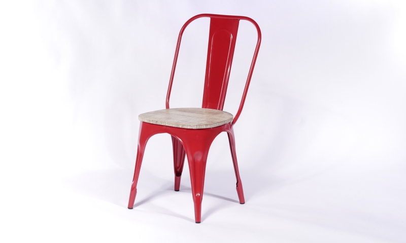 2 X Urban Deco Industrial Red Iron Metal Dining Chair
