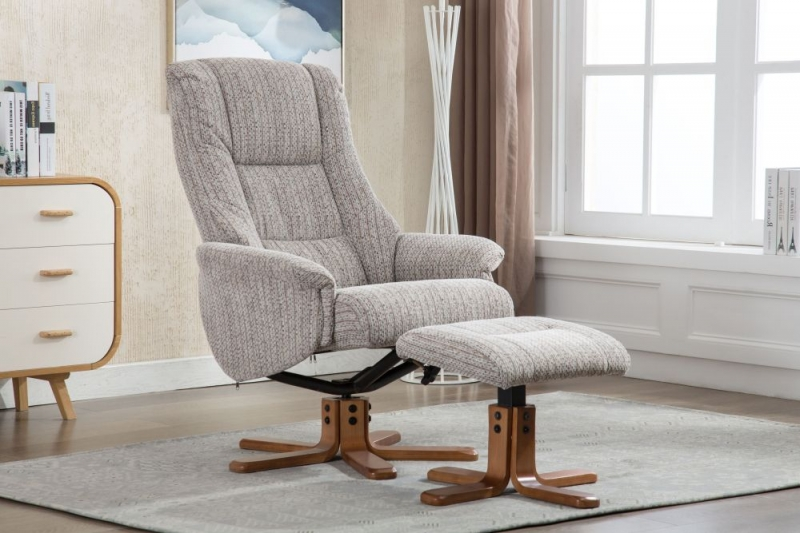 GFA Florida Swivel Recliner Chair with Footstool - Wheat Fabric