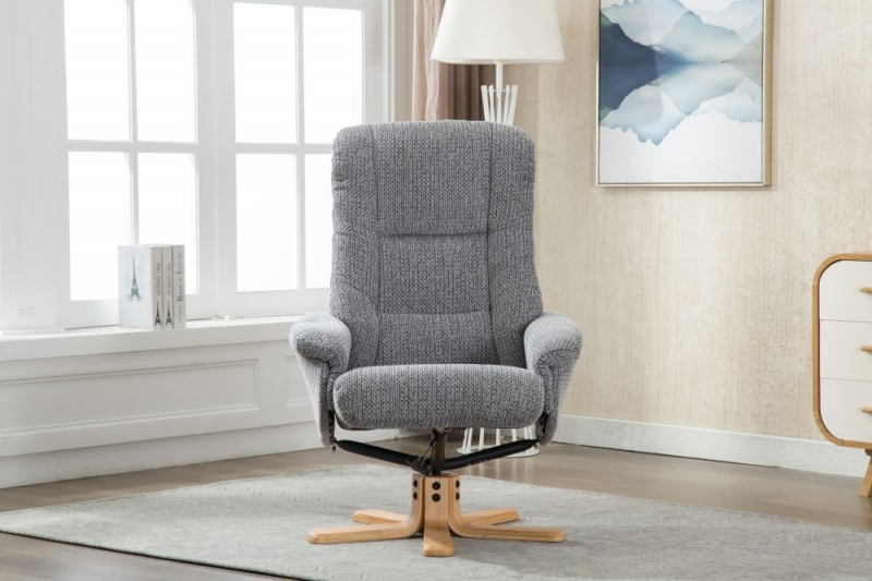 GFA Florida Swivel Recliner Chair with Footstool - Lake Blue Fabric