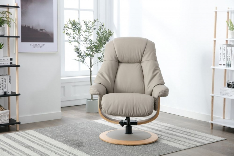 GFA Jersey Swivel Recliner Chair with Footstool - Pebble Leather Match