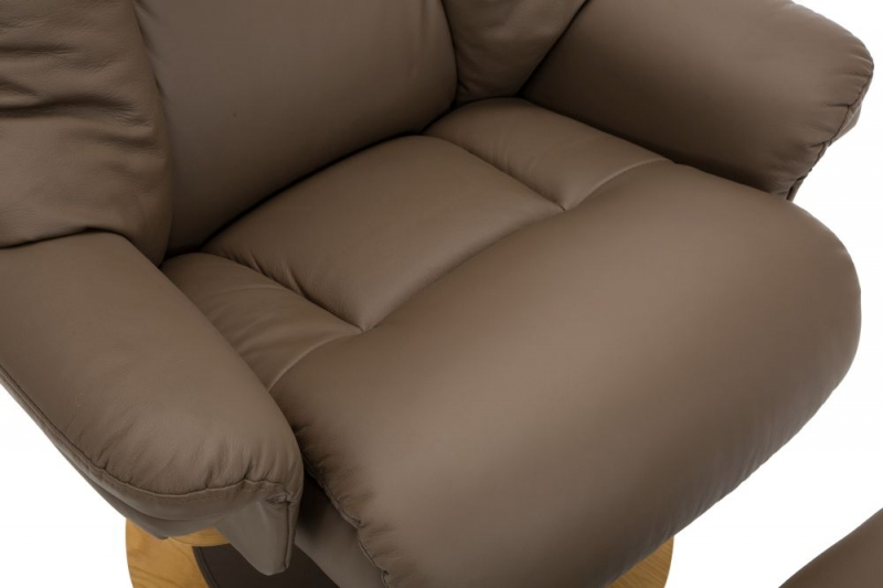 GFA Jersey Truffle Leather Match Fabric Swivel Recliner Chair with Footstool