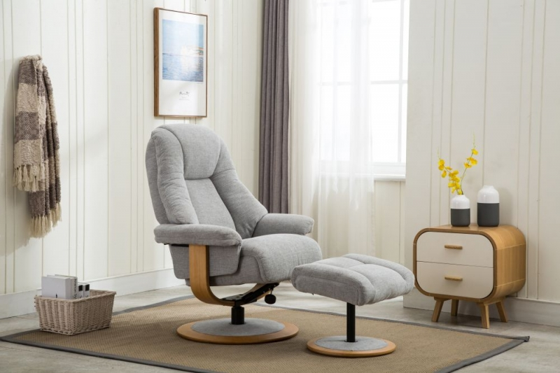 GFA Jersey Swivel Recliner Chair with Footstool - Lille Cloud Fabric