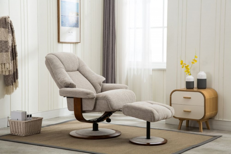 GFA Jersey Swivel Recliner Chair with Footstool - Lille Sand Fabric