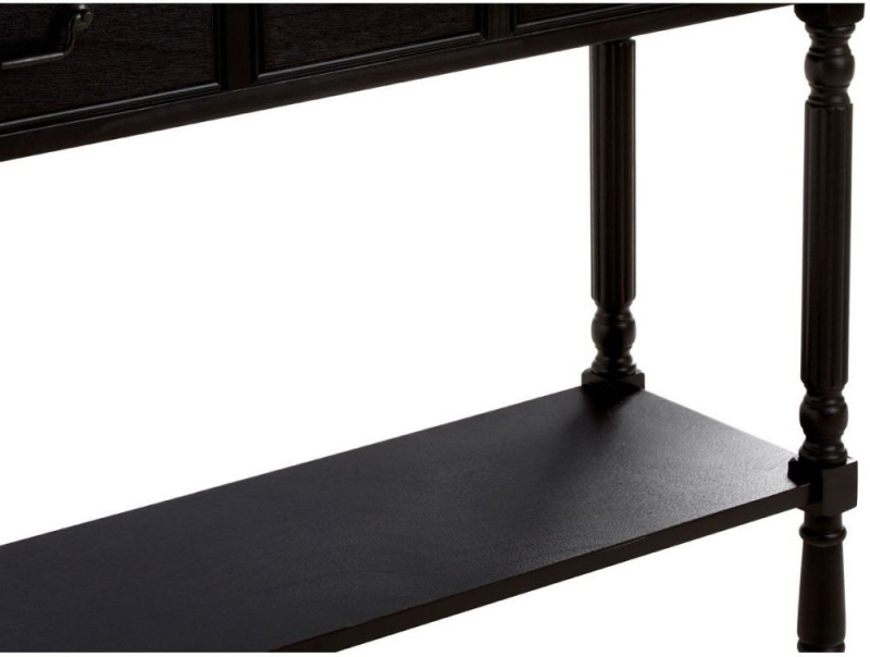 Heritage Black 3 Drawer 1 Shelf Console Table