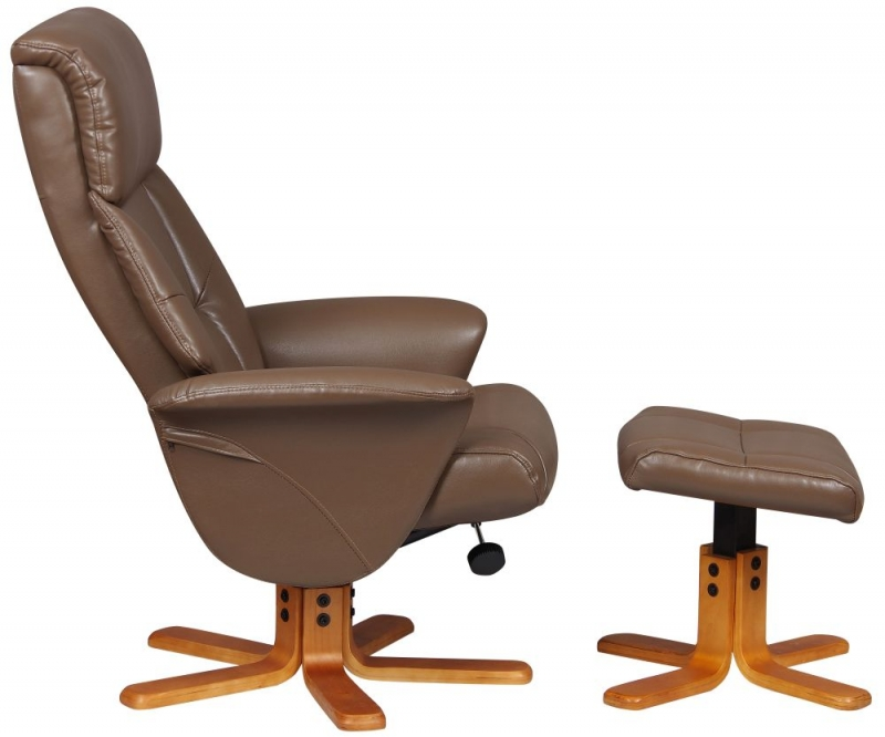 GFA Marseille Swivel Recliner Chair with Footstool - Truffle Faux Leather