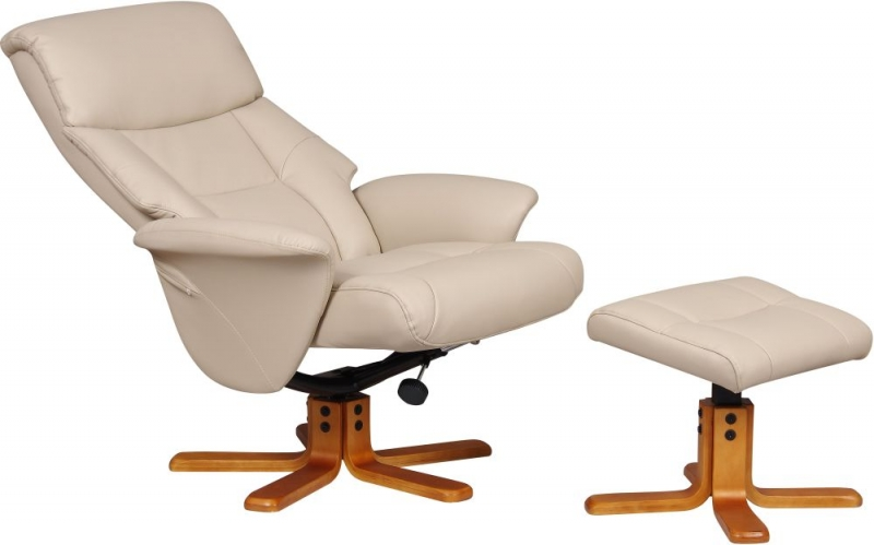 GFA Marseille Swivel Recliner Chair with Footstool - Cafe Latte Faux Leather