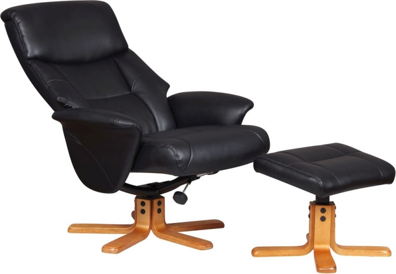 GFA Marseille Black Faux Leather Swivel Recliner Chair with Footstool