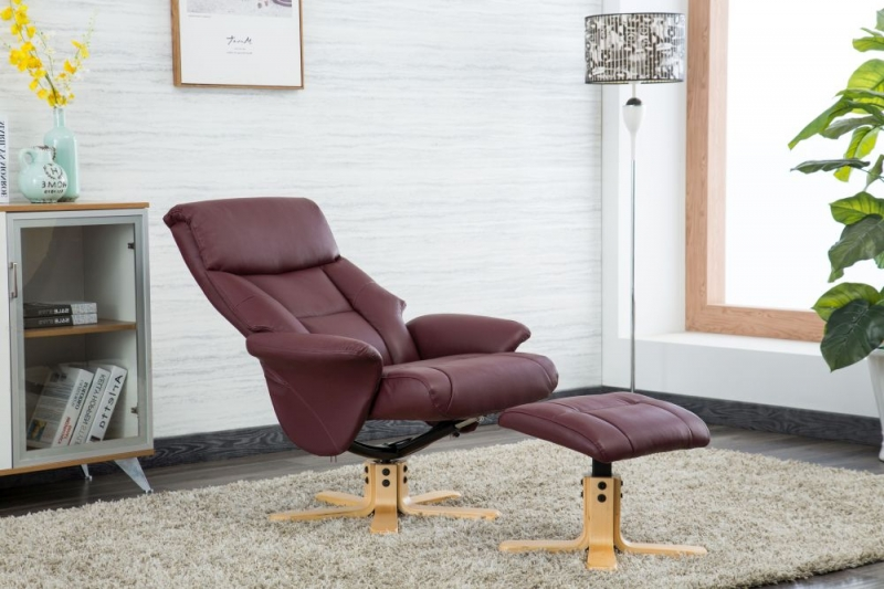 GFA Marseille Swivel Recliner Chair with Footstool - Burgundy Faux Leather