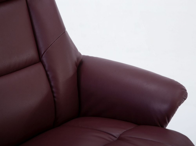 GFA Marseille Burgundy Faux Leather Swivel Recliner Chair with Footstool