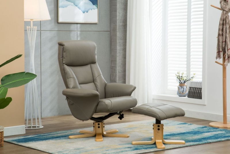 GFA Marseille Swivel Recliner Chair with Footstool - Grey Faux Leather