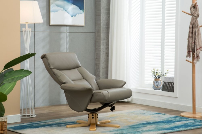 GFA Marseille Grey Faux Leather Swivel Recliner Chair with Footstool