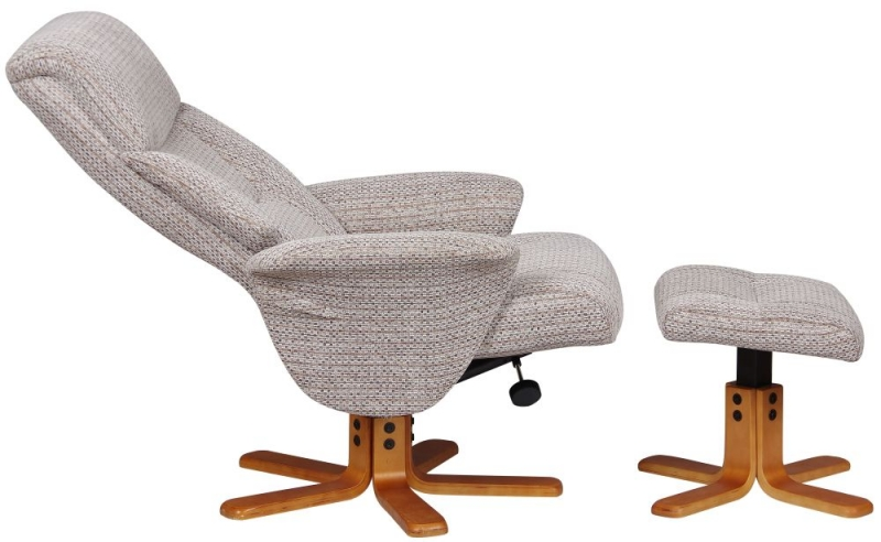 GFA Marseille Swivel Recliner Chair with Footstool - Wheat Fabric