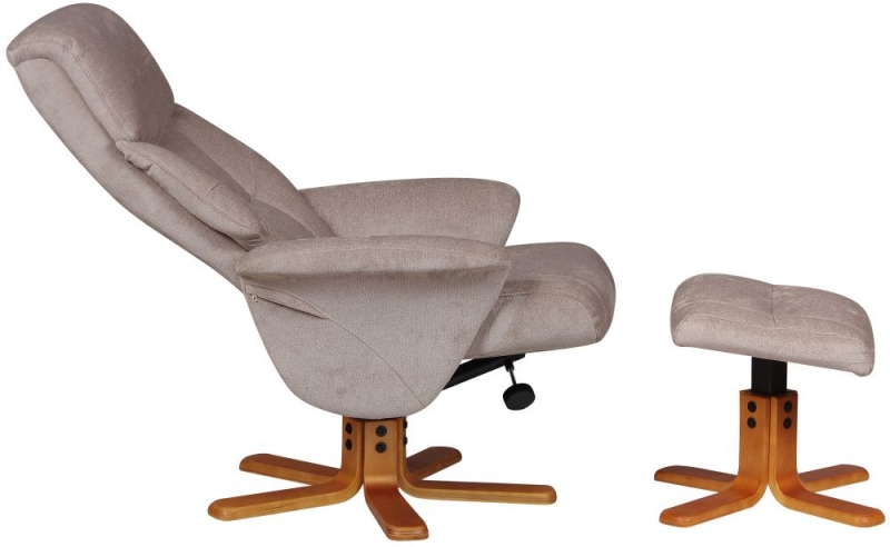 GFA Marseille Swivel Recliner Chair with Footstool - Mist Fabric