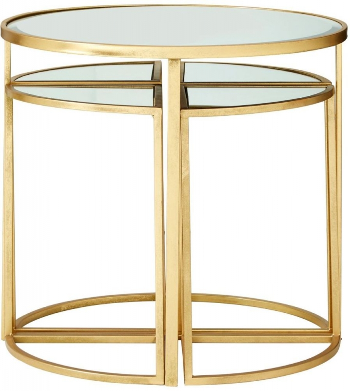 Farran Nest of 5 Tables - Gold and Mirrored