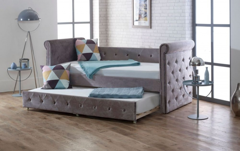 Limelight Zodiac Plush Silver Velvet Day Bed with Guest Bed