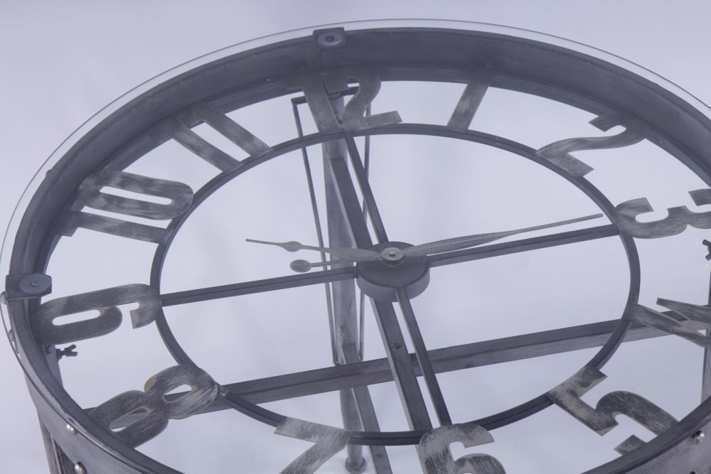 Urban Deco Black Metal and Glass Round Clock Table