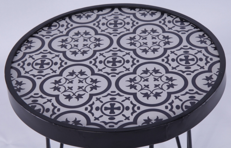 Urban Deco Black Metal and Designer Glass Round Table with Hairpin Legs