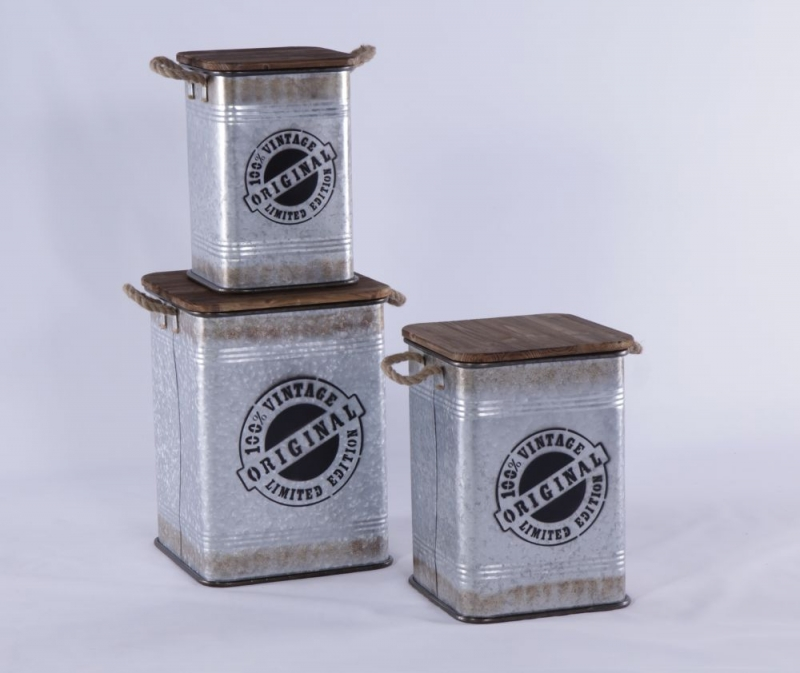 Urban Deco Silver Metal Set of 3 Square Storage Tables