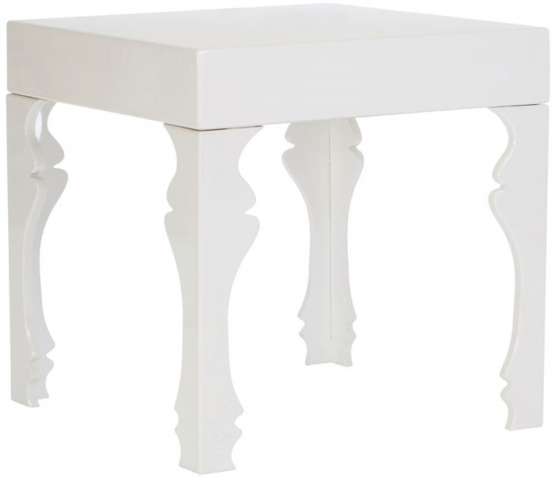 Luis White High Gloss Side Table
