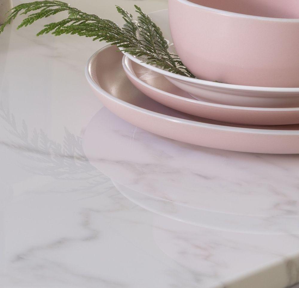 Urban Deco Milan White Marble 200cm Rectangular Dining Table