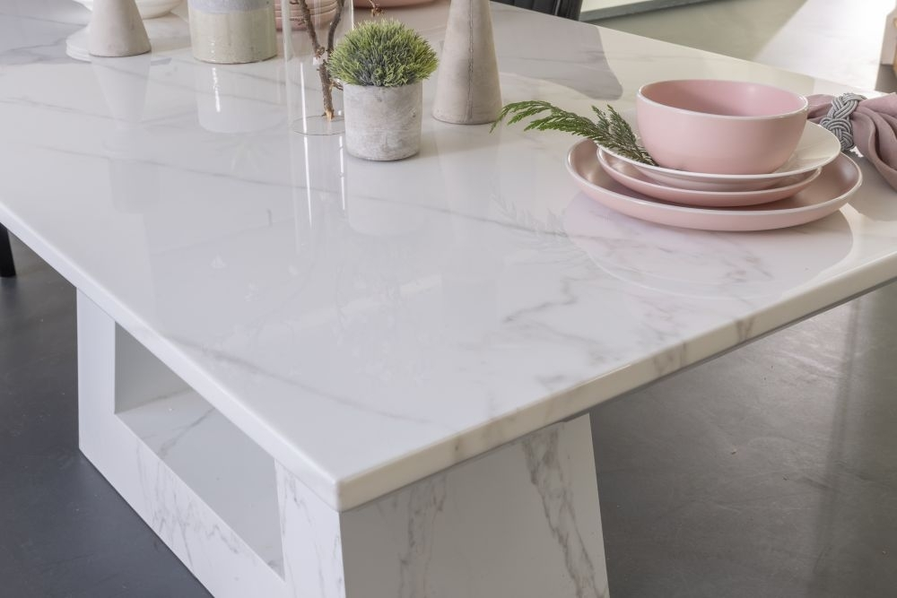 Urban Deco Milan 200cm White Marble Dining Table