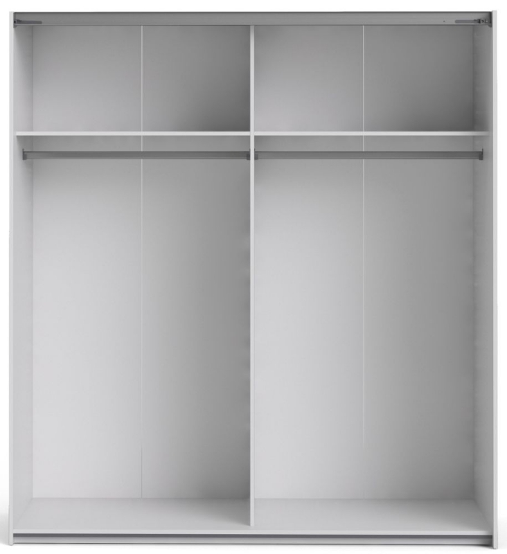 Verona 2 Door Sliding Wardrobe W 180cm - White and Mirror