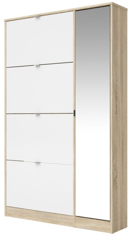Bright 1 Door Combi Shoe Cabinet - Oak and White High Gloss