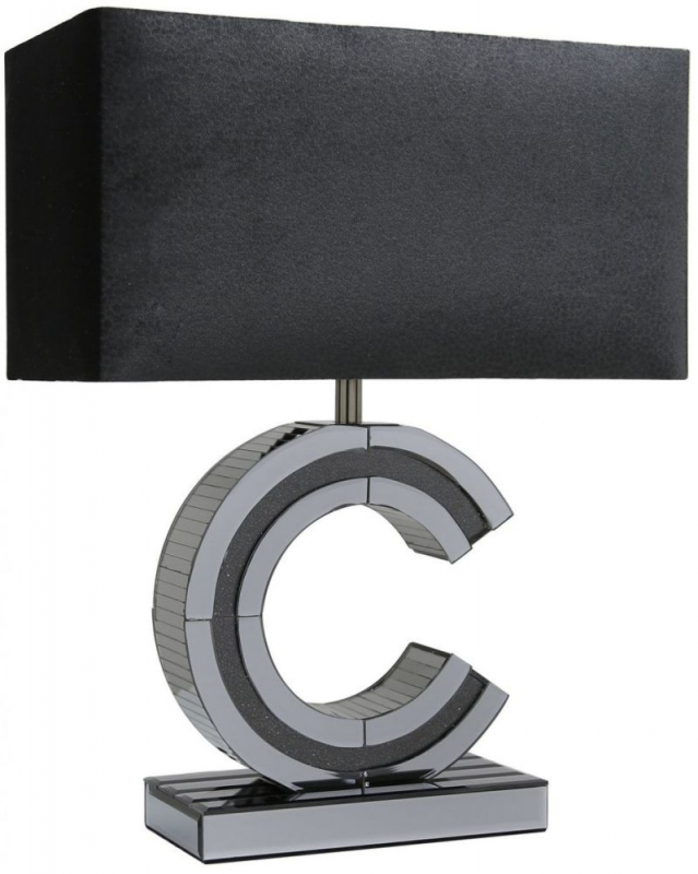 Naro Smoked Mirrored C Large Table Lamp