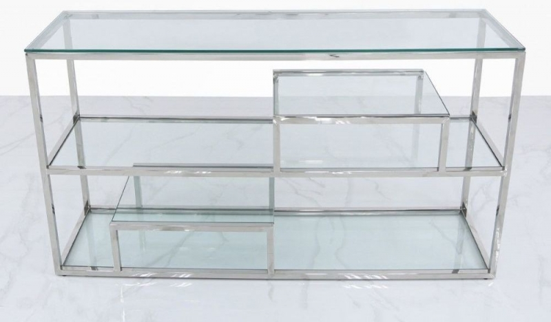 Hermon Tier Console Table - Glass and Chrome