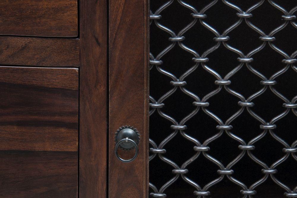 Iron Jali Sheesham 1 Door 3 Drawer Hallway Sideboard