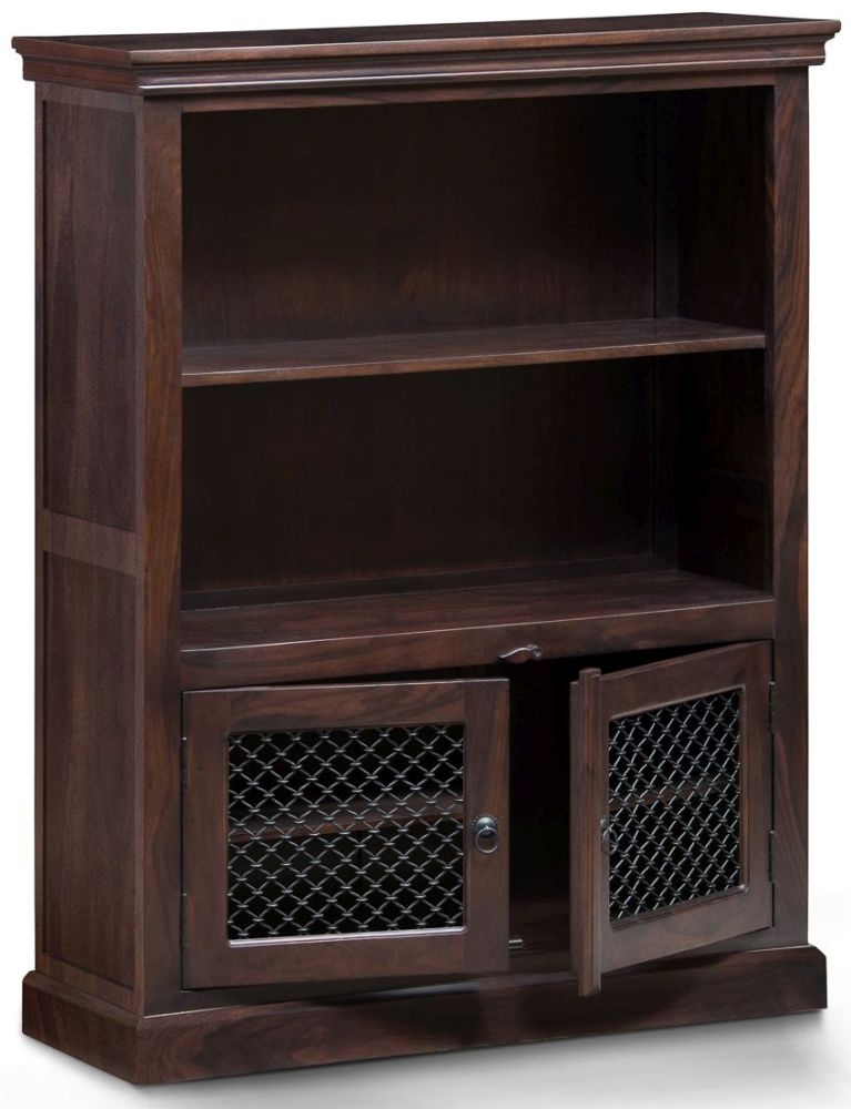 Iron Jali Sheesham 2 Door 1 Shelf Medium Bookcase
