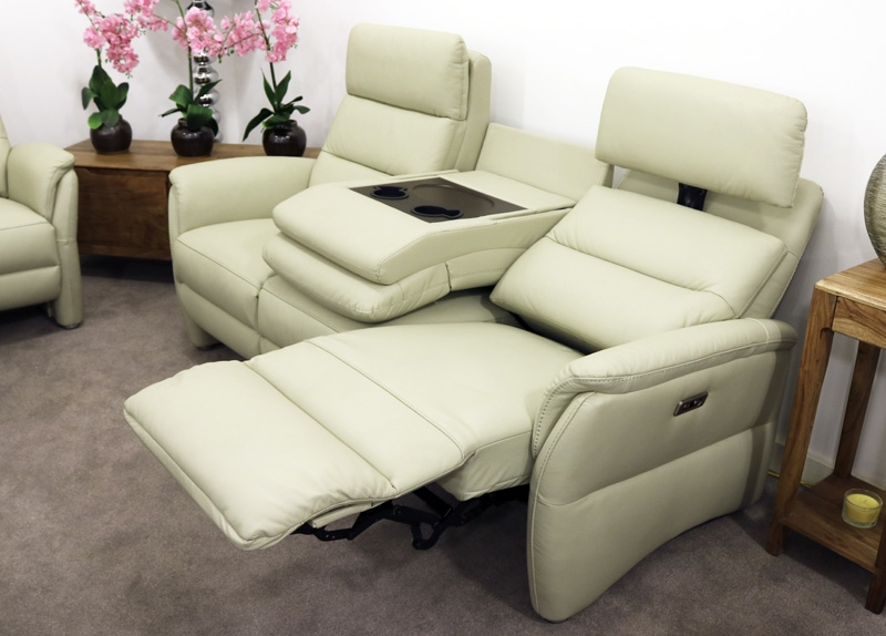 Oslo 3 Seater Recliner Sofa - Chalk Leather