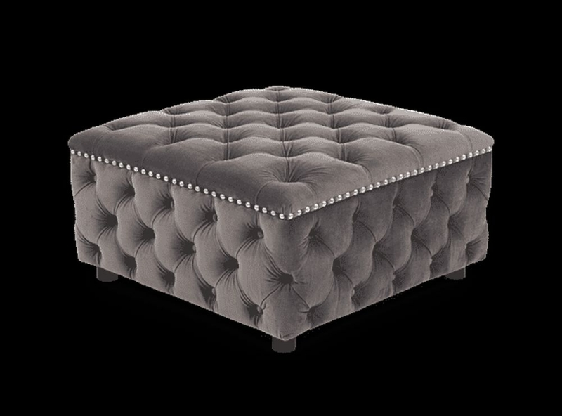 Mark Harris Fiona Grey Velvet Square Footstool