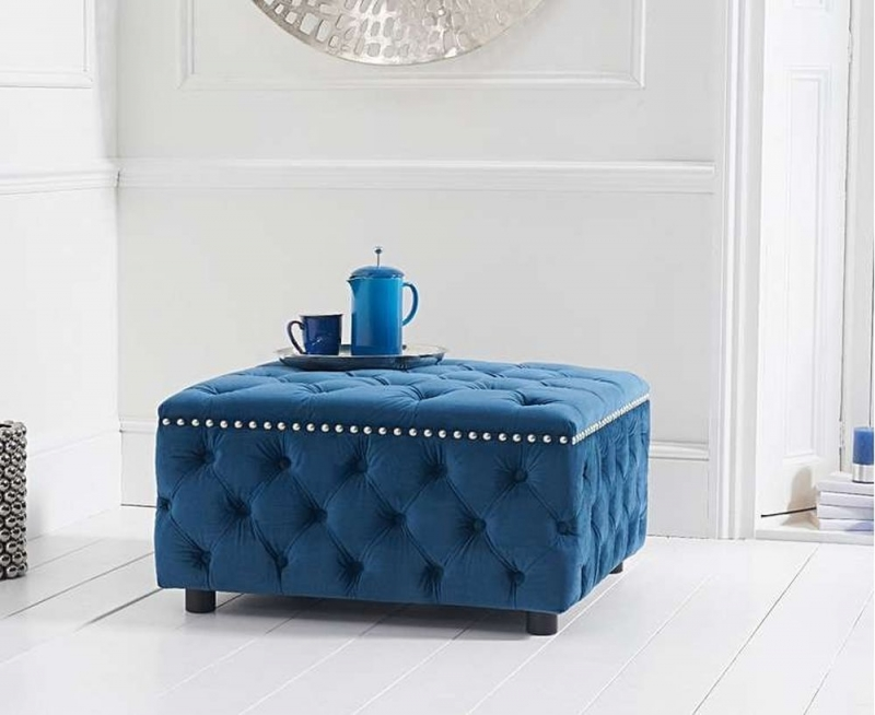Mark Harris Fiona Blue Velvet Square Footstool