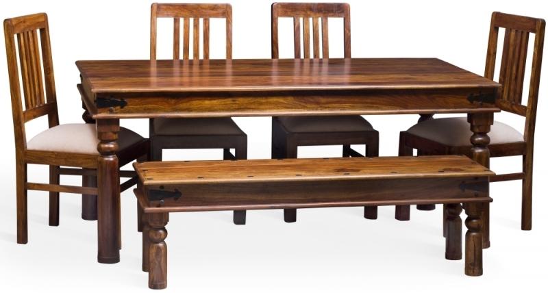 Wood Jali Sheesham Rectangular Dining Table - 180cm