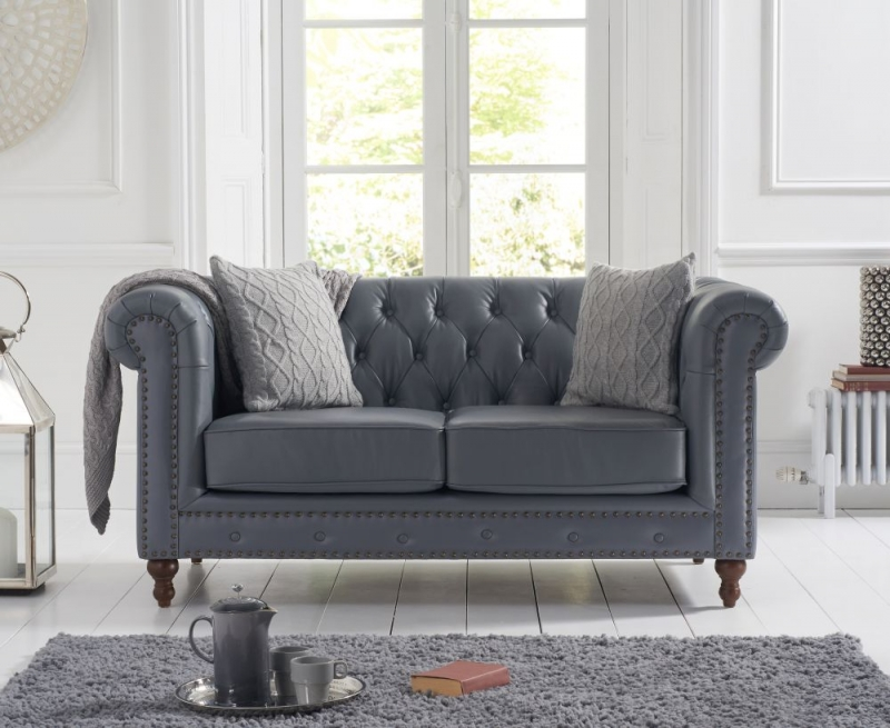 Mark Harris Montrose Grey Linen Leather 2 Seater Sofa