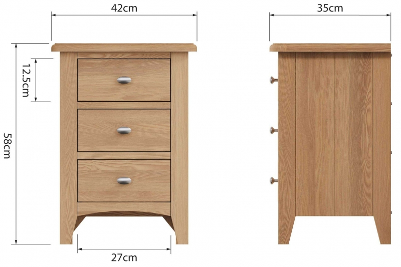 Eva Light Oak 3 Drawer Bedside Cabinet