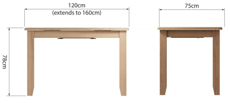 Eva Light Oak 120cm Extending Dining Table