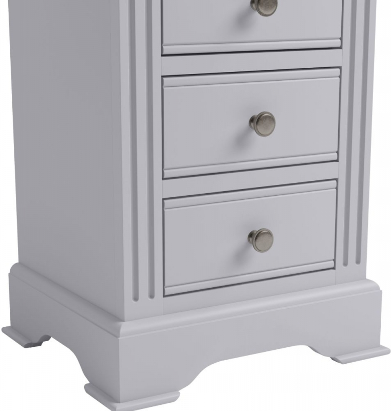Ashby Moonlight Grey Painted 3 Drawer Bedside Cabinet