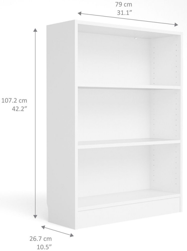 Basic White Low Wide Bookcase